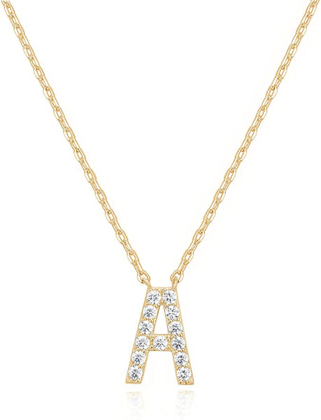 14K Gold Cubic Zarconia Pendant Initial Letter Chain Necklace - A