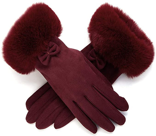 Red Wine Faux Fur Bow Tie Gloves