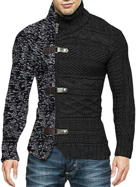 Men's Black/Charcoal High Collar Buckle Long Sleeve Color Block Sweater