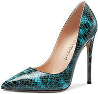 Fashionable Black & Teal Scaled High Heel Pumps