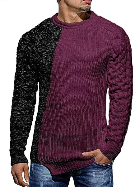 Men's Black & Purple Two Tone Long Sleeve Knit Sweater