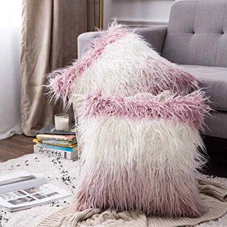 Luxury Soft Faux Fur Shaggy White/Pink Ombre Cushion Cover Pillowcase/ Pillows Covers