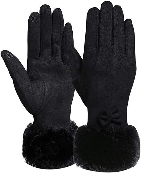 Black Faux Fur Bow Tie Gloves