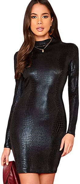 Crocodile Print  Embossed Long Sleeve Bodycon Dress