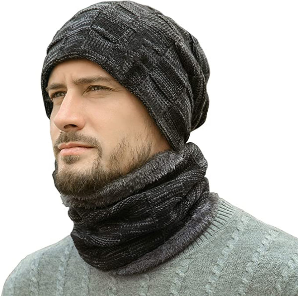 Men's Black Ribbed Thermal Fleece Winter Hat & Neck Warmer Set