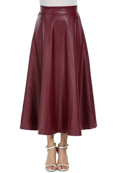 Vegan Leather Burgundy Red High Waist A Line Midi Skirt