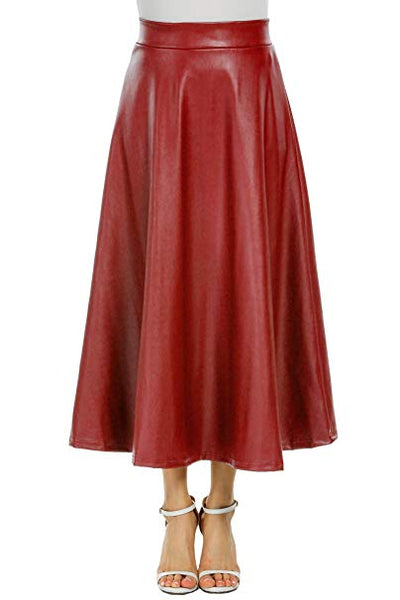 Vegan Leather Red High Waist A Line Midi Skirt