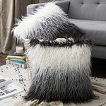 Luxury Soft Faux Fur Shaggy White/Grey Ombre Cushion Cover Pillowcase/ Pillows Covers