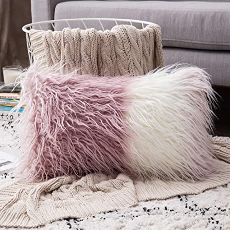 Mongolian Faux Fur Rectangular Pink/White Ombre Shaggy Decor Pillow