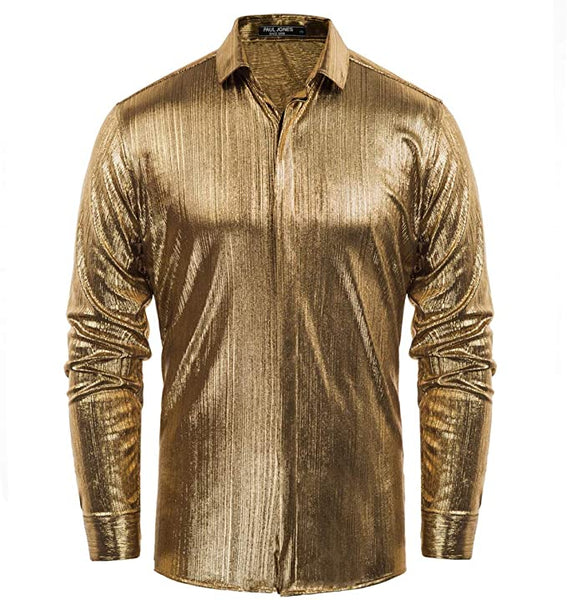 Men's Metallic Gold Long Sleeve Button Up Dress Shirt