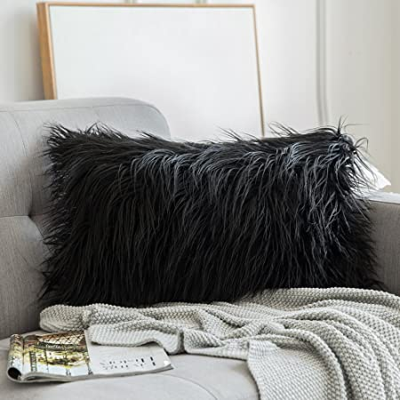 Mongolian Faux Fur Rectangular Black Shaggy Decor Pillow