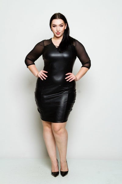 Plus Size Black Faux Leather Mesh Sleeve Dress