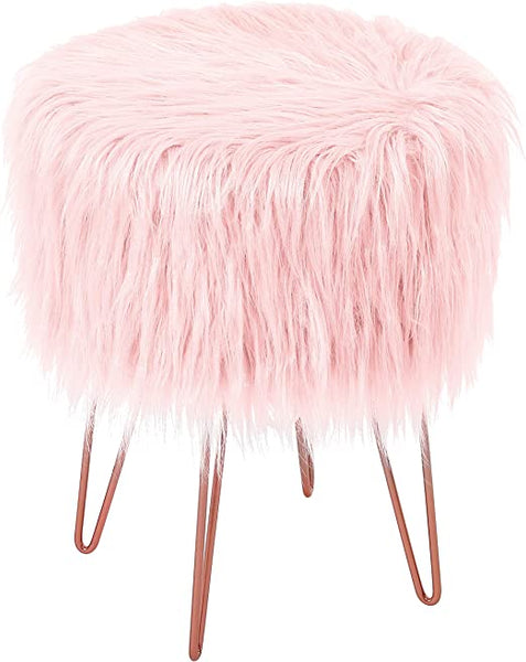 Pink Faux Fur Vanity Stool Chair