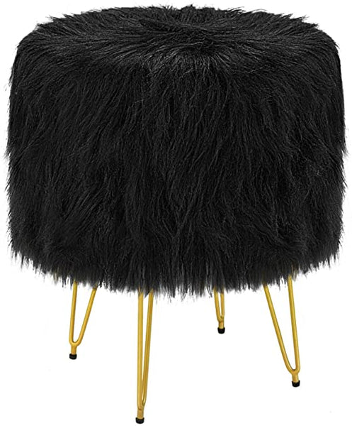 Black Faux Fur Vanity Stool Chair Ottoman