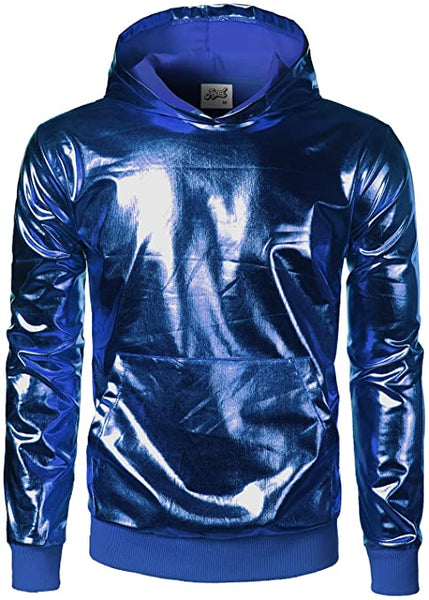 Men's Blue Long Sleeve Metallic Hoodie