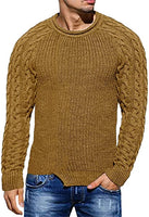 Men's Hunter Green Braided Knit Long Sleeve Knit Sweater