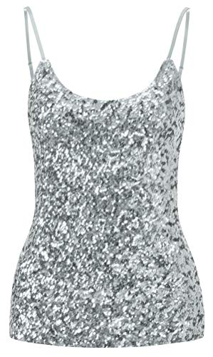 Sequined Silver Sleeveless Style Sparkle Top