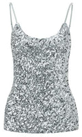 Sequined White Sleeveless Style Sparkle Top