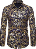 Men's Navy Galaxy Printed Long Sleeve Collared Button Down Shirt