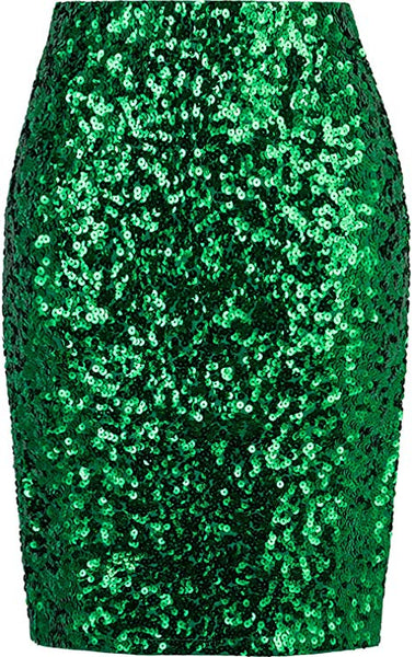 Crushed Hunter Green Sequined Pencil Skirt