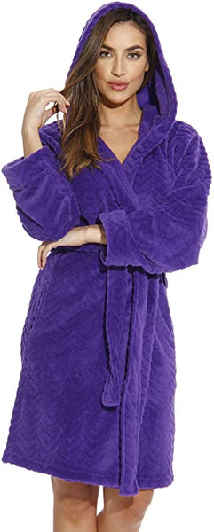 Cozy Soft Purple Hooded Long Sleeve Knee Length Belted Robe