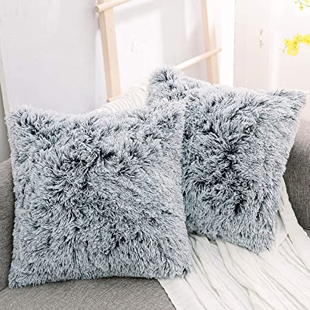 Luxury Soft Faux Fur Shaggy Ombre Grey Cushion Cover Pillowcase/ Pillows Covers