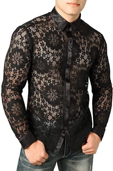 Men's Designer Black Leafy Floral Lace Long Sleeve Shirt