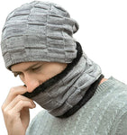 Men's Gray Ribbed Thermal Fleece Winter Hat & Neck Warmer Set
