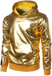 Men's Gold Long Sleeve Metallic Hoodie