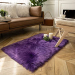 Soft Faux Sheepskin Fur Chair Couch Cover Purple Rectangle Area Rug -2 x 6 Feet