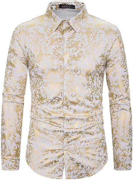 Men's White & Gold Galaxy Printed Long Sleeve Collared Button Down Shirt