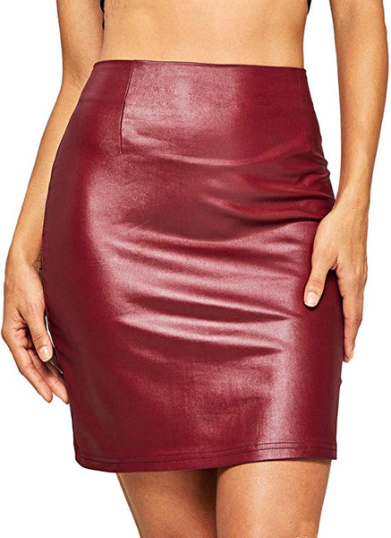 Winter Red Faux Leather Mini Skirt