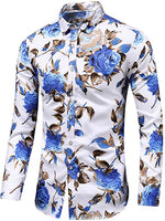 Men's Blue & White Roses Long Sleeve Collared Button Down Shirt