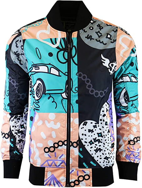 Men's Designer Multi-Color Street Art Print Bomber Long Sleeve Jacket