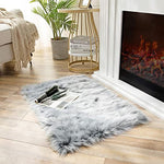 Soft Faux Sheepskin Fur Chair Couch Cover Coal Black Rectangle Area Rug -2 x 3 Feet