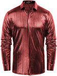 Men's Metallic Red Long Sleeve Button Up Dress Shirt