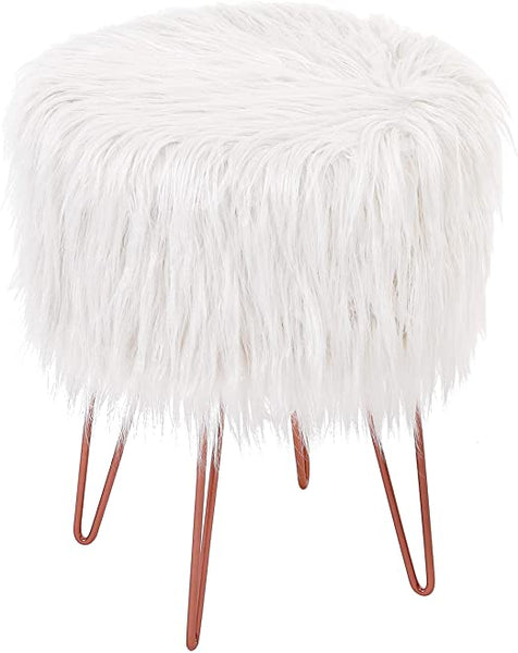 White Faux Fur Vanity Stool Chair