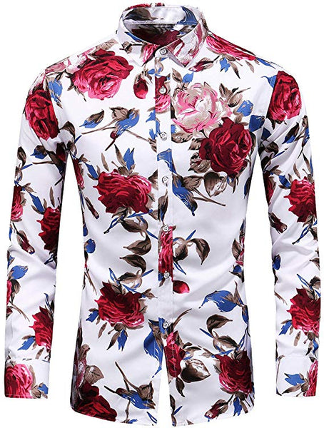 Men's White Roses Long Sleeve Collared Button Down Shirt