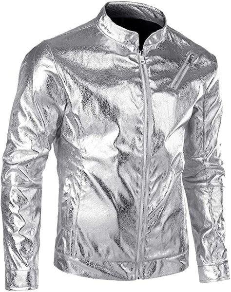 Men's Metallic Silver Motocycle Zip Up Long Sleeve Jacket