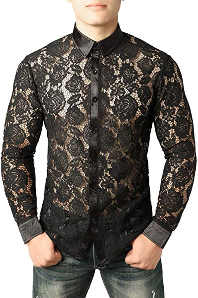 Men's Designer Black Rose Floral Lace Long Sleeve Shirt