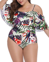 Plus Size White Garden Leaves Ruffled Cut Out Bikini Swimsuit