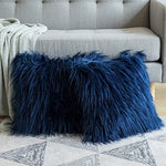 Luxury Soft Faux Fur Shaggy Navy Blue Cushion Cover Pillowcase/ Pillows Covers