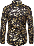 Men's Navy & Gold Rose Printed Long Sleeve Collared Button Down Shirt