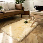 Soft Faux Sheepskin Fur Chair Couch Cover Beige Rectangle Area Rug -2 x 3 Feet