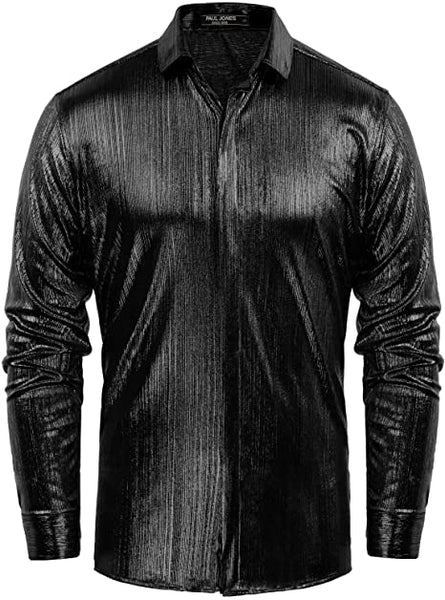 Men's Metallic Black Long Sleeve Button Up Dress Shirt