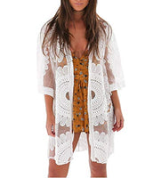 White Sunflower Lace Mesh Swimsuit Coverup