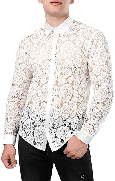 Men's Designer White Rose Lace Long Sleeve Shirt