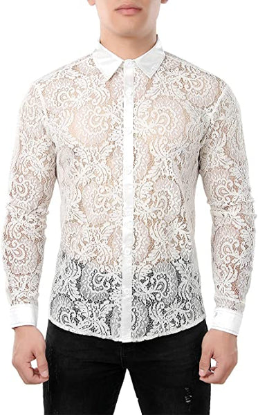 Men's Designer White Paisley Floral Lace Long Sleeve Shirt