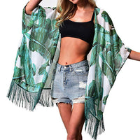 Summer Leaves Fringe Chiffon Resort Style Cover Up