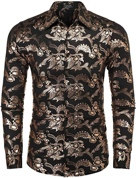 Men's Shiny Black & Gold Paisley Long Sleeve Collared Button Down Shirt